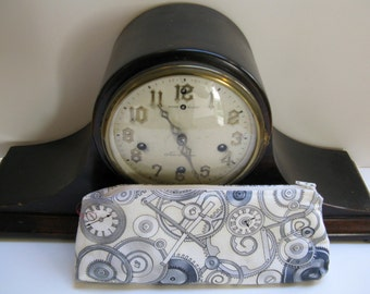 Steam Punk Clocks and Gears Pencil Case, Make-up zippered Pouch, Gadgets Bag.