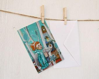 Folded card, Grey mornings , winter illustration, with white enveloppe