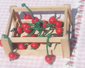 10 Wooden cherries - toy pretend play food -  waldorf - decoration