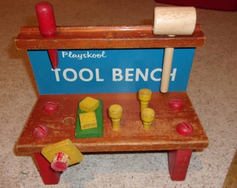Original Wooden Playskool Tool/Work Bench, 1960's