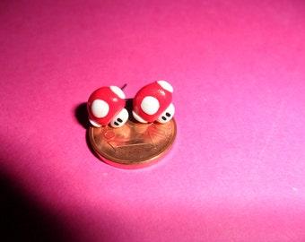 mushroom earrings, handmade fimo supermario