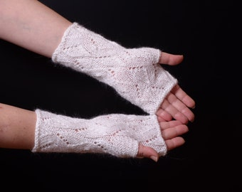 Fingerless Gloves lacy White Knit Arm Warmers Women's Hand Warmers mohair Fingerless Gloves Wrist Warmers