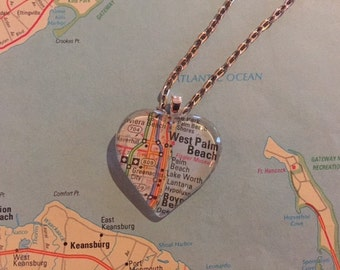 West Palm Beach Vintage Map Pendant Necklace