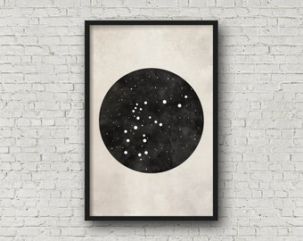 Aquarius Constellation, Wall Art Prints, Art Print Poster, Aquarius Art, Aquarius Zodiac, Zodiac Print, Zodiac Sign