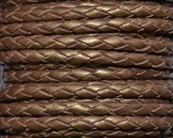 Bronze - 3mm Bolo Braided Leather Cord per yard