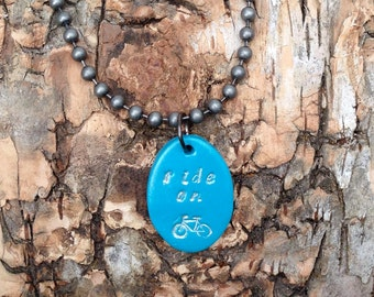 Cycling Necklace, Bike Necklace, Bicycle Necklace, Bicycle Jewelry, Cycling Jewelry, Bike Jewelry, Cyclist Gifts, Ride On Necklace
