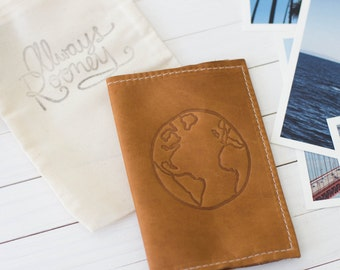 Personalized Leather Passport Wallet Globe Embossed Design, Travel Wallet, Leather Travel Accessory, Passport Cover | The Armstrong