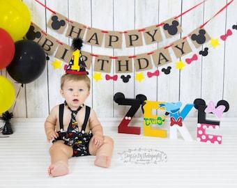 Mickey HAPPY BIRTHDAY banner garland, baby's birthday,  rustic birthday decor, red black yellow Mickey birthday