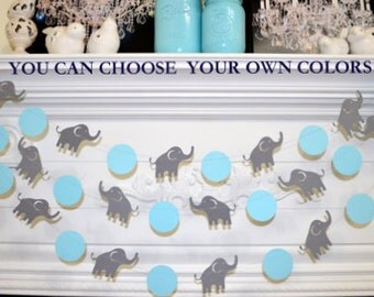 Elephant Garland, Elephant Baby Shower Decorations, Blue U0026 Gray Elephant  Nursery Decoration   Lucky
