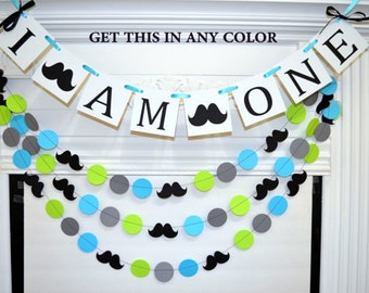 I AM ONE banner and garland set, mustache first birthday banner, Little man birthday party decor 1st birthday, lime green blue