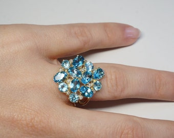 Blue Topaz ring-Blue topaz diamond ring- 14k Yellow Gold-Anniversary ring-Natural blue topaz-Birthday present-Blue topaz engagement ring