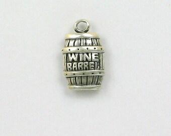 Sterling Silver Wine Barrel Charm