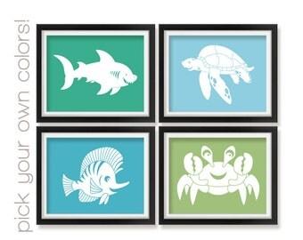 Aquatic Nursery Art Prints, Fish, Shark, Nautical Nursery Decor, Kids Art Prints, Nursery Art, Childrens Art, Kids Decor, Baby Gift Aqua009