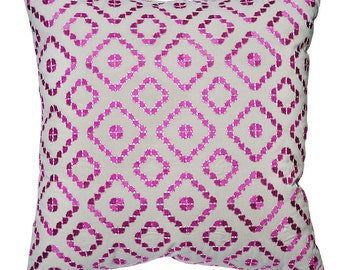 Pink Moroccan Tiles Cushion Cover. Pillow Cover.