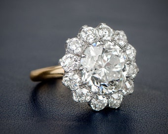 Old European Cut Cluster Engagement Ring.