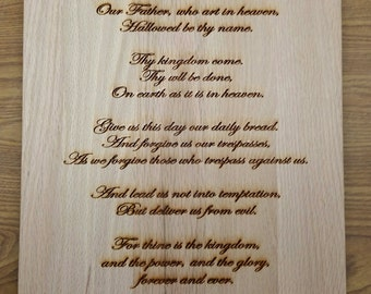 Laser Engraved Plaque - The Our Father or Lord's Prayer