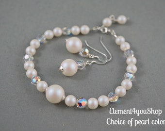 Bridesmaid jewelry set, Swarovski pearlescent white pearls, Bracelets earrings set, Bridal party gift, Wedding jewelry, Sterling silver