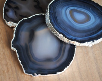 Silver Plated Agate Coasters - Set of Four, Silver Rimmed Agate Coasters, Silver Agate Coasters