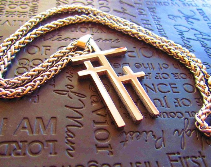 Large Silver Calvary 3 Cross Necklace Pendant Mens Boys Heavy Braided Chain Christian Jewelry - Saint Michaels Jewelry - Calvary Three Cross