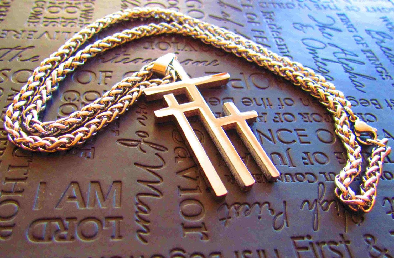 Large Silver Calvary 3 Cross Necklace Pendant Mens Boys Heavy