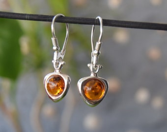 Earrings sterling silver pendant with amber