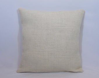 Custom made ivory/cream/off white burlap pillow cover/sham. Multiple sizes to choose from.