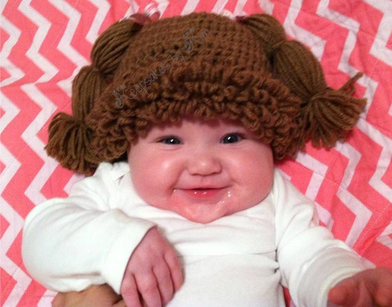 Adorable Doll Hat ~ Free Shipping!, Halloween costume, Dress up hat, crochet hat, Doll baby hat, Infant Halloween, Newborn Halloween