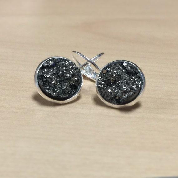 Grey Faux Druzy Earrings | Sparkle Drop Earrings | Shiny Earrings | Sparkly Dangle Earrings | Druzy Drop Earrings | Druzy Dangle Earrings |
