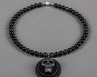 Obsidian Black Skull Necklace Noir Edition
