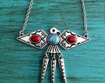 Thunderbird Necklace, Native American Necklace, Turquoise Necklace, Tribal Necklace, Native American Jewelry, Southwest Necklace, Silver