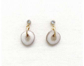 Antler Drops with White Topaz Earrings
