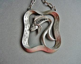 Vintage Pewter fish pendant, vintage fish pendant, vintage fish necklace, pewter fish pendant, pewter fish necklace, rare fish pendant