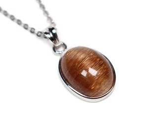 Bronze Crystal Pendant Necklace with Rutilated Quartz - Womens Necklace, Bronze Gemstone Necklace, Crystal Gift Ideas