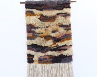 Woven Latch Hook Abstract Wall Hanging or Rug, 1970s Multi-Colored Fiber Art