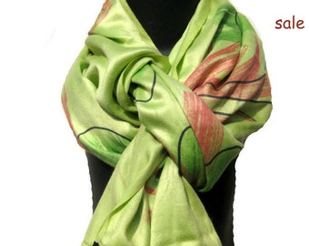 SALE. Was 18 USD NOW....Light green,multicolored,long/stole/scarf in glazed cotton.