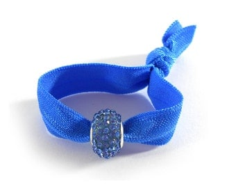 Elegant Hair Tie Bracelet Ponytail Holder in Royal Blue with Blue Crystal Bead that doubles as Bracelet - Hair Tie Bracelet  by O twist