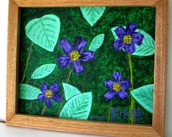VIOLETS 2 - Original Acrylics Painting Framed 12x10 No. 587