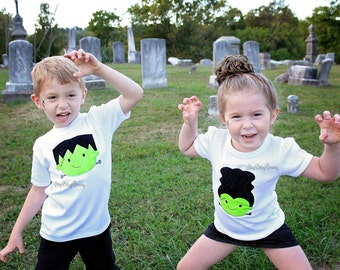 Frankenstien embroidered sibling family shirt set boy girl halloween brother and sister shirts