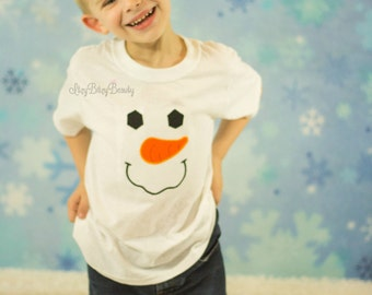 Snowman embroidered cute face shirt baby bodysuit boy or girl