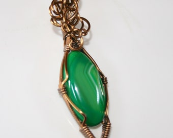 Alyce - Green Agate Pendant, Wire Wrapped Pendant, Agate Jewelry, Antique Copper Pendant, Wire Wrapped Jewelry, Gift For Her