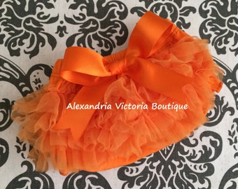 ORANGE BLOOMER with BOW, chiffon ruffle diaper cover, photo prop, newborn ruffle bloomer, halloween bloomer-ready to ship!