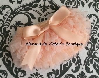 PEACH BLOOMER with BOW, chiffon ruffle diaper cover, photo prop, newborn ruffle bloomer, smash cake-ready to ship!