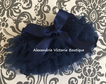 NAVY BLOOMER with BOW, chiffon ruffle diaper cover, photo prop, newborn ruffle bloomer, several colors to choose from, chiffon ruffle.