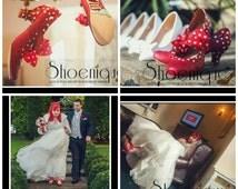 Bridal Wedding Bride GroomPolka Dot Red White Tattoo Fifties Rockabilly Shoe High Heels Size 3 4 5 6 7 8 Platform UK Painted Custom Bespoke
