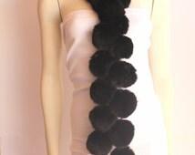 Vintage Fur Black Pom Pom Long Scarf