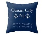 Ocean City Pillow Cover, Ocean City New Jersey, Longitude Latitude Pillow, Nautical Pillow Cover, Choose Your colcor!