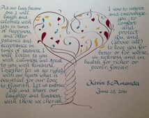 Bride to Groom Gift, Wedding Vows, Ketubah, Master Bedroom Decor, Bridal Gift, Husband Gift, Custom Calligraphy , 16 x 20 inch  Handwritten