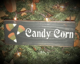 Primitive Halloween Candy Corn Sign with Wire Hanger