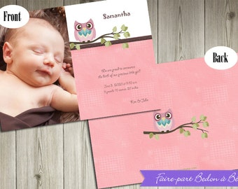 Personalized Photo Birth Announcement - Pink-Owl - Digital printable file