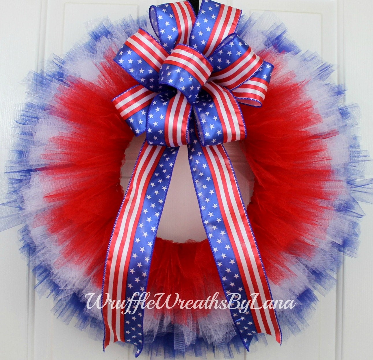 Patriotic Tulle Wreath Patriotic Wreath July 4th Wreath